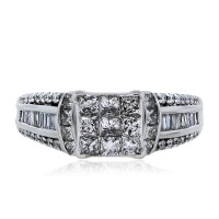 14k White Gold Princess Baguette and Round Cut Diamond Engagement Ring