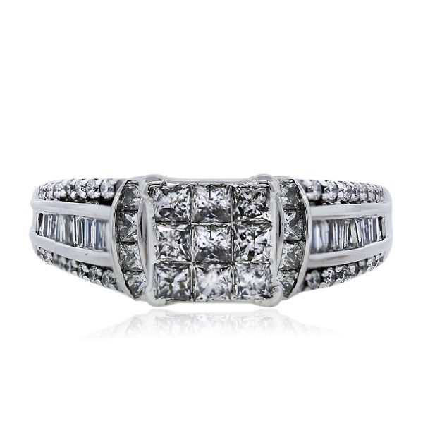 14k White Gold Princess Cut, Baguette Cut and Round Cut Engagement Ring