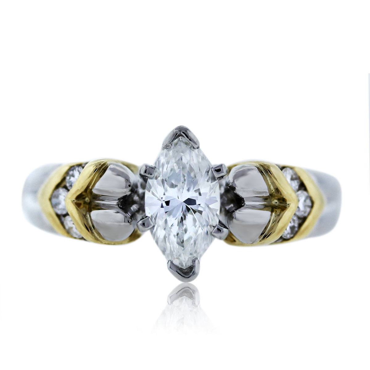 Yellow Gold Diamond Platinum: Platinum And 18k Yellow Gold Marquise Cut Diamond
