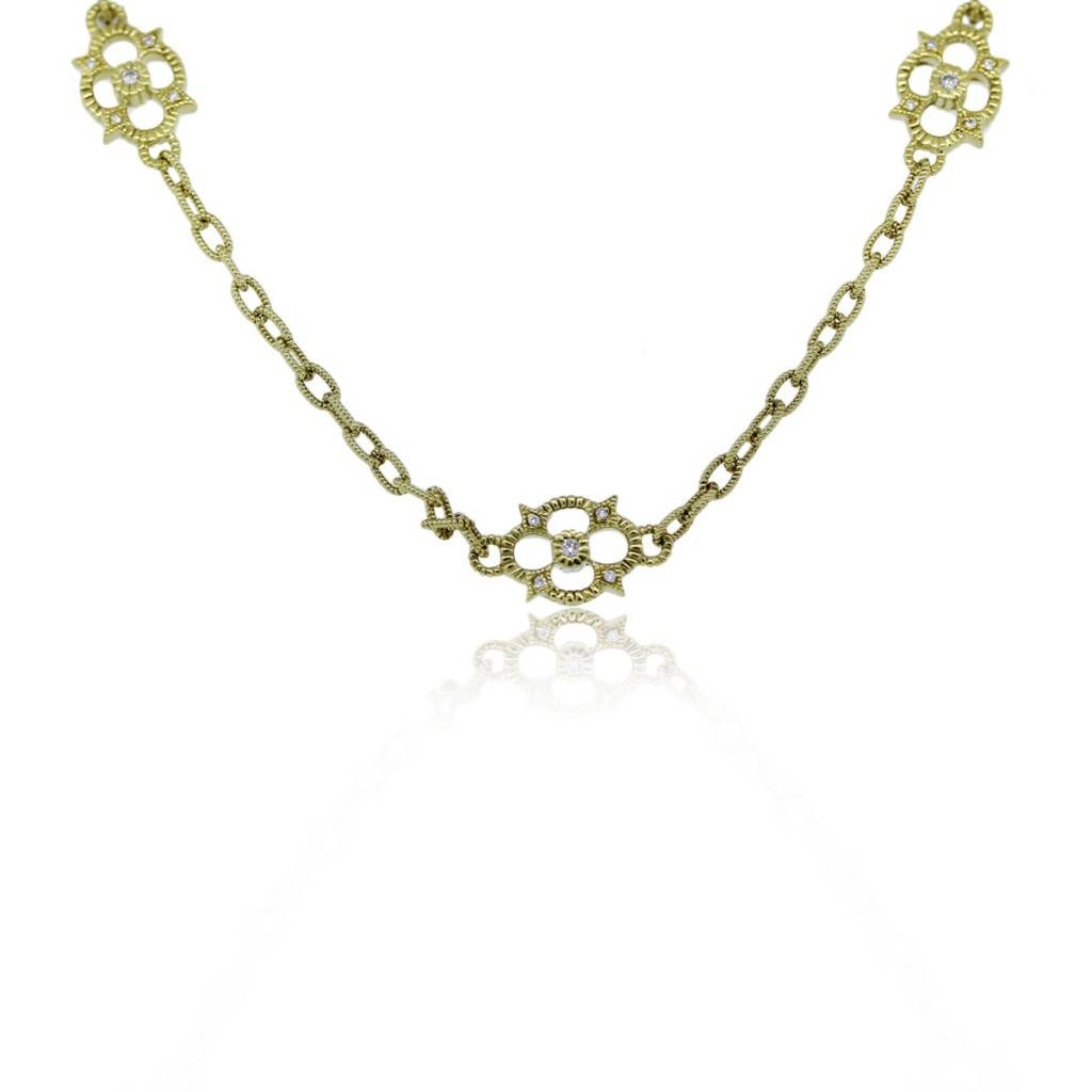 Judith ripka 18k yellow gold couture flower station necklace boca raton judith ripka 18k yellow gold couture flower station necklace aloadofball Images