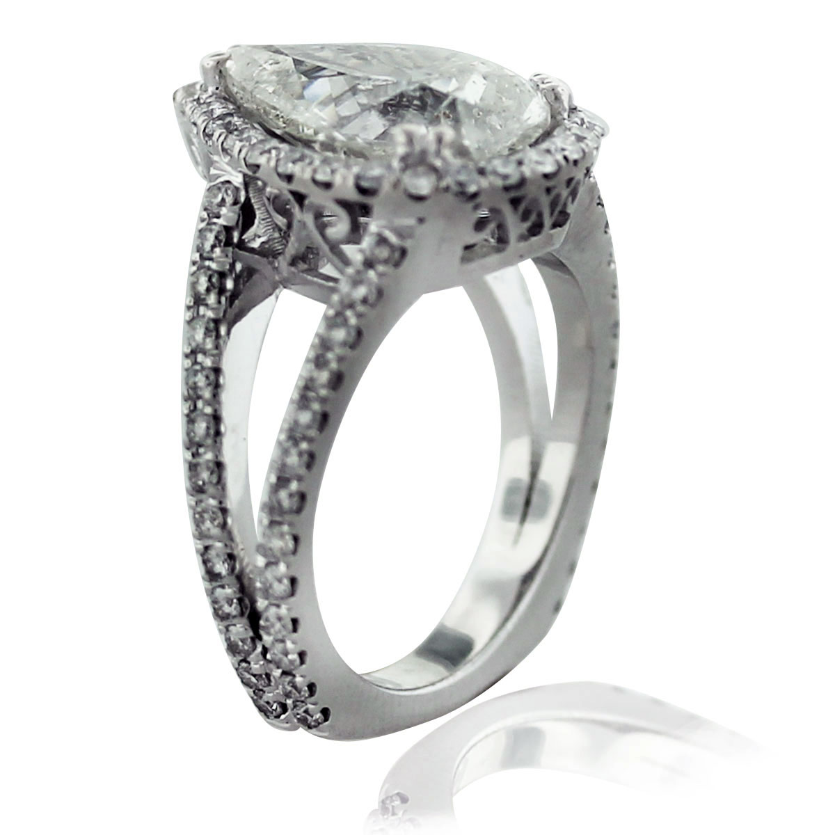 18k White Gold Micro Pave 4.58ct Pear Shaped Diamond Engagement Ring Boca Raton