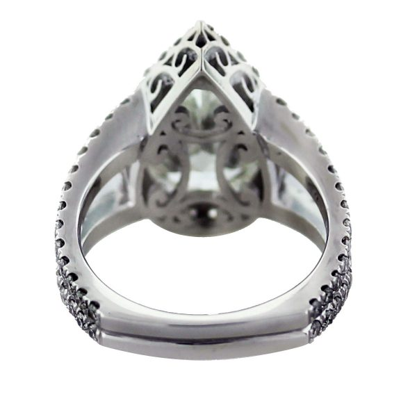 18k White Gold Micro Pave 4.58ct Pear Shaped Diamond Engagement Ring South Florida