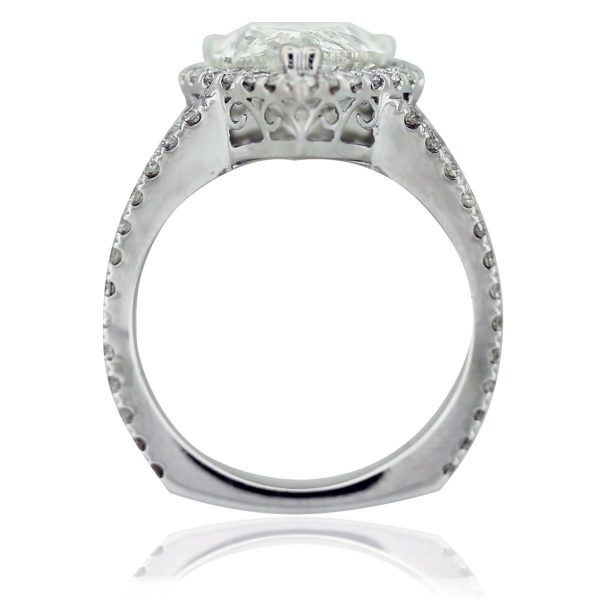 18k White Gold Micro Pave Pear Shaped Diamond Engagement Ring