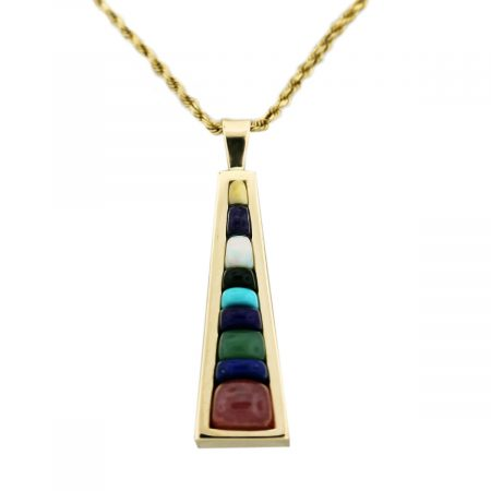 14kt Yellow Gold Mixed Semi Precious Gemstone Pendant & Rope Chain