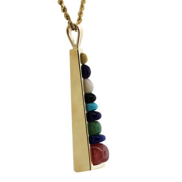 14kt Yellow Gold Mixed Semi Precious Gemstone Pendant & Rope Chain Side