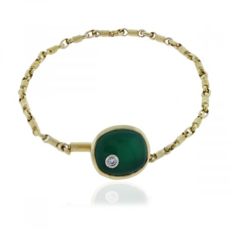 18k Gold Jade & Diamond Watch Fob