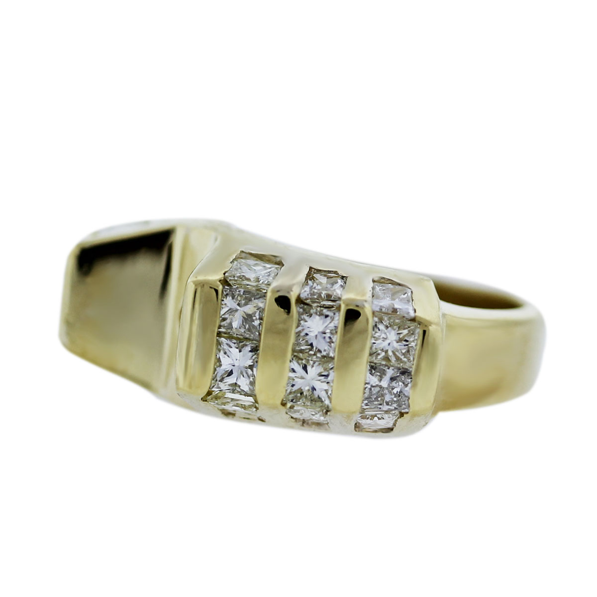 Yellow Gold Invisible Set Diamond Ring Setting