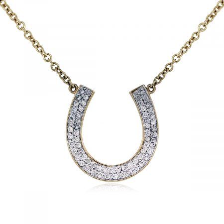 Pave Set Diamond Horseshoe Pendant on Chain