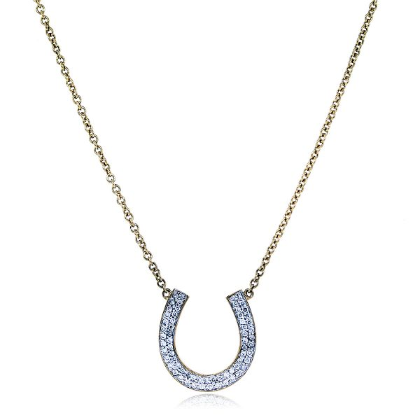 Estate Yellow Gold and Diamond Pendant Necklace