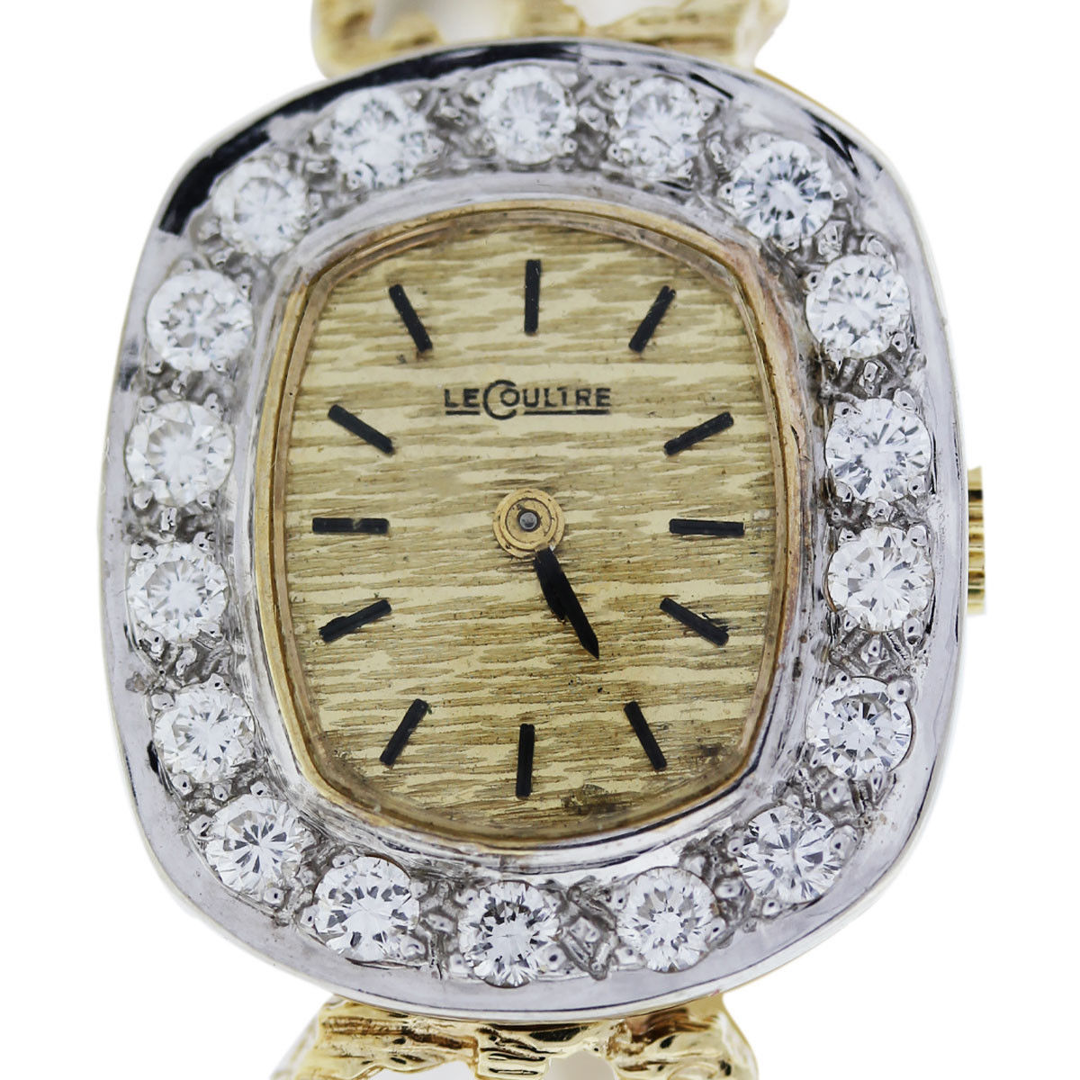 You are viewing this LeCoultre 14k Yellow Gold Diamond Bezel Ladies Watch!