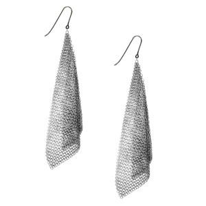 Sterling Silver Mesh Scarf Earrings