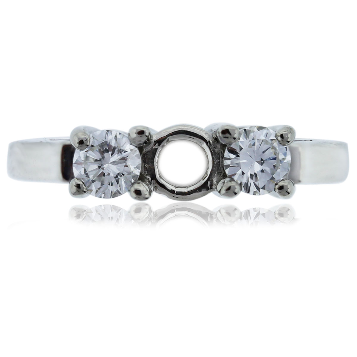 14k White Gold Three Stone Diamond Engagement Ring Mounting