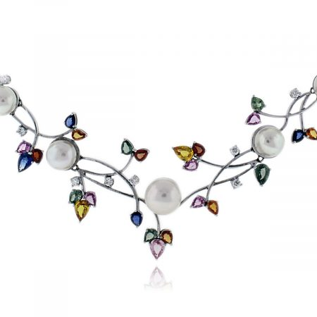 Diamond and Sapphire Pearl Necklace
