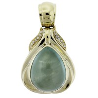 18k Yellow Gold Pear Shape Aquamarine & Diamond Large Pendant