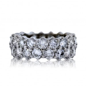 Platinum Double Row Diamond Eternity Band Ring