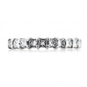Platinum princess cut anniversary band