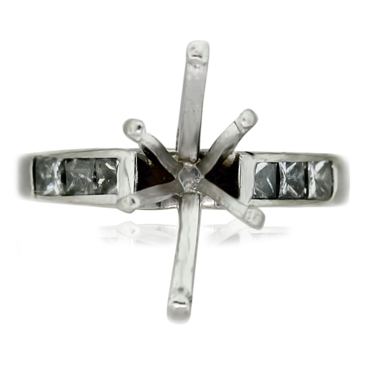 Platinum Invisible Set Princess Cut Diamond & Marquise Mounting