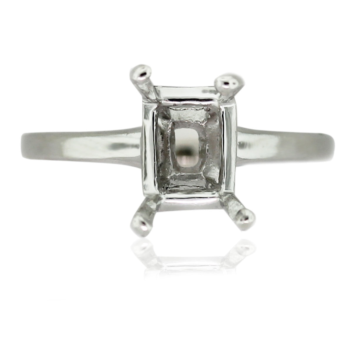 Platinum 4 Prong Emerald Cut Engagement Ring Mounting