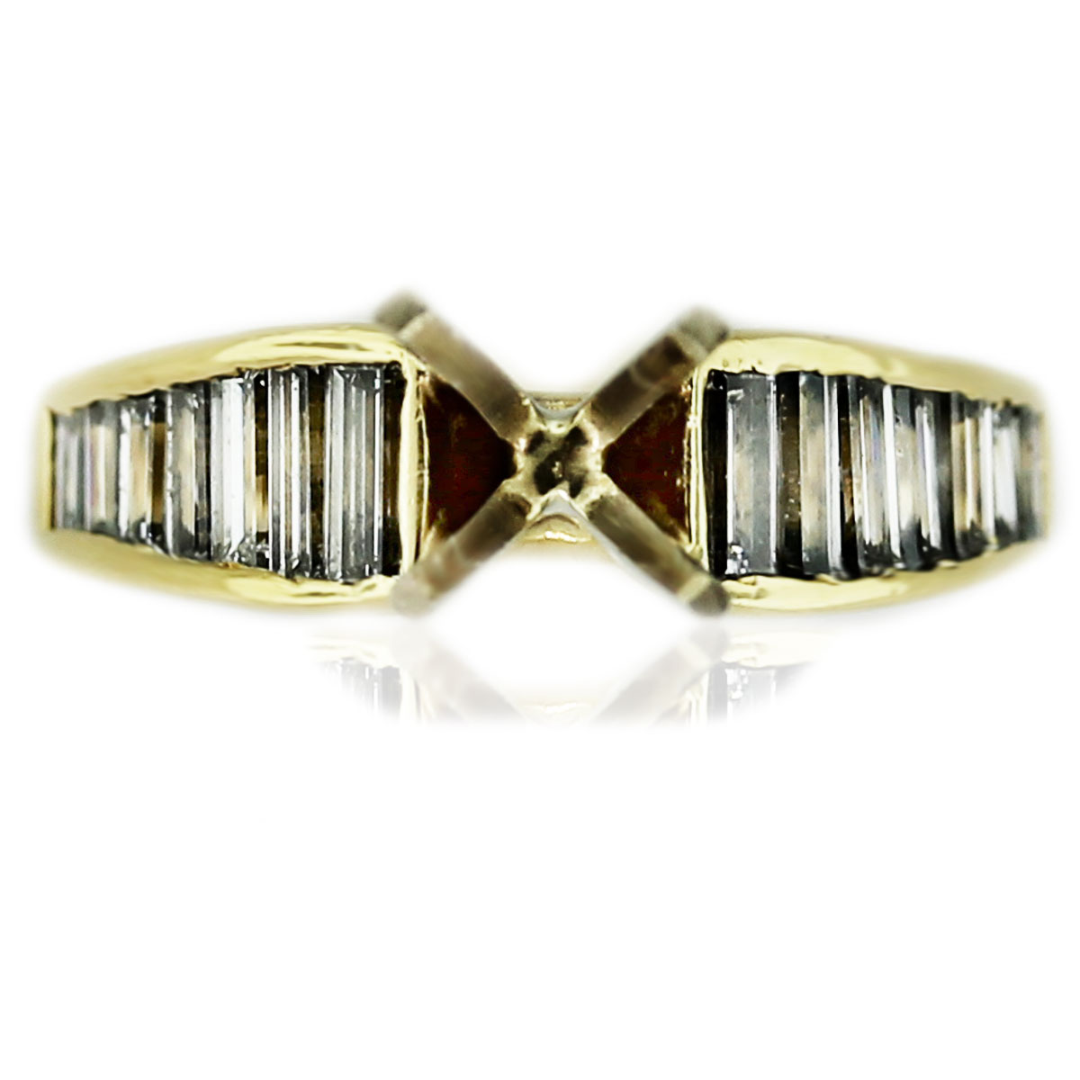 18k Yellow Gold Diamond Baguette 4 Prong Engagement Ring Mounting