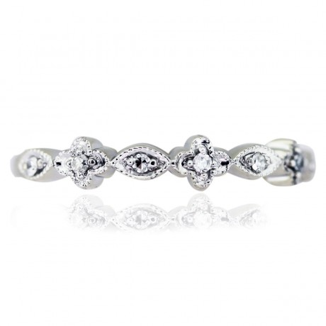 14kt White Gold Floral Diamond Thin Ring