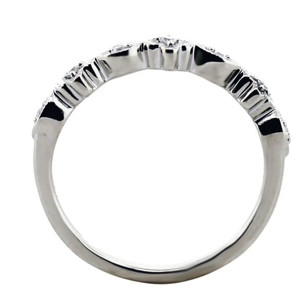 14kt White Gold Floral Diamond Thin Ring Side