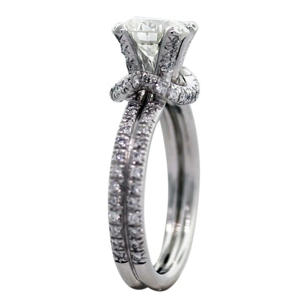 Platinum GIA Certified 1.04ct Round Pave Diamond Engagement Ring Side