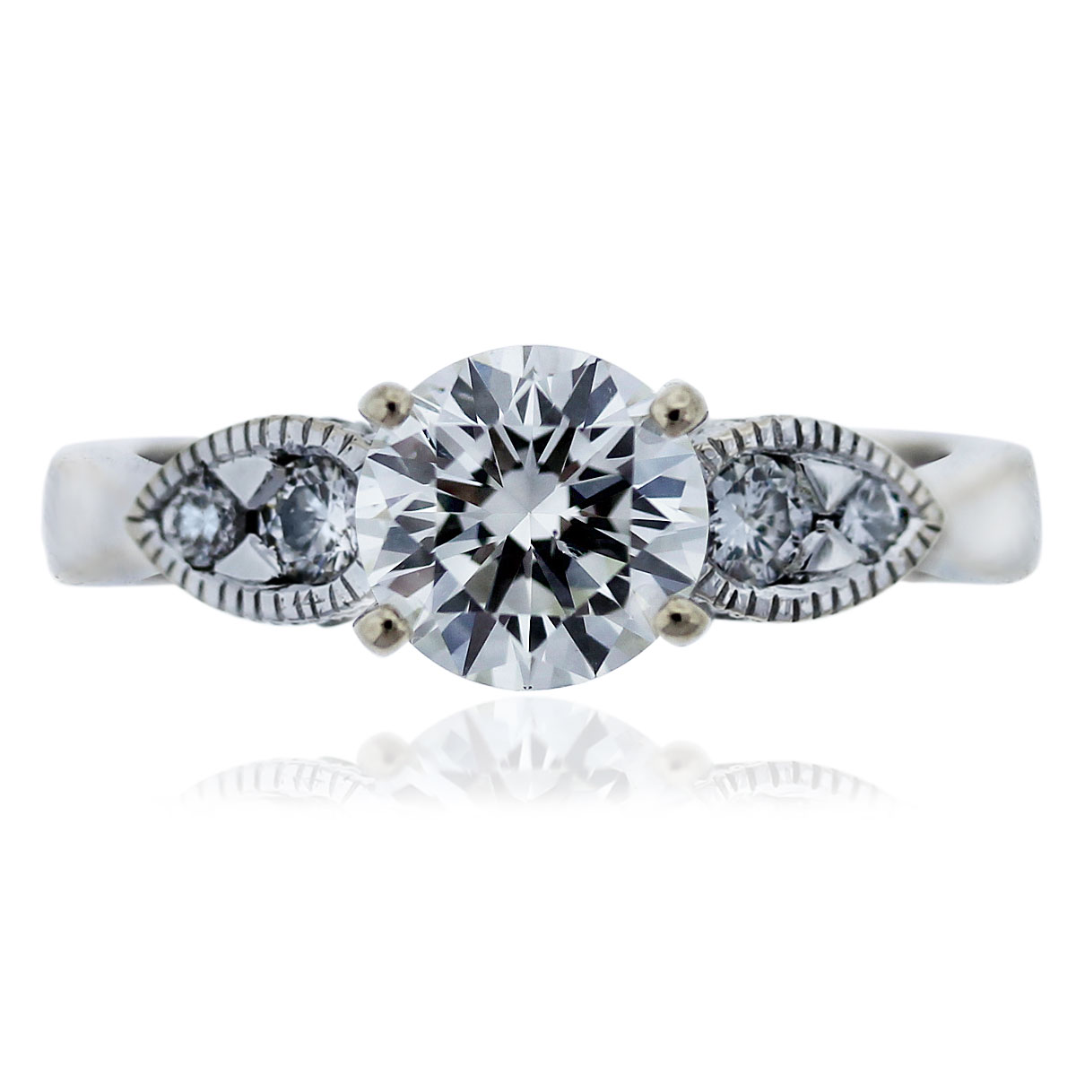 18k White Gold GIA Certified 1.66ctw Round Brilliant Diamond Engagement Ring