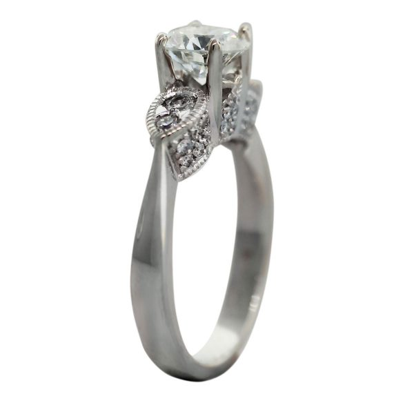 18k White Gold GIA Certified 1.66ctw Round Brilliant Diamond Engagement Ring Angle