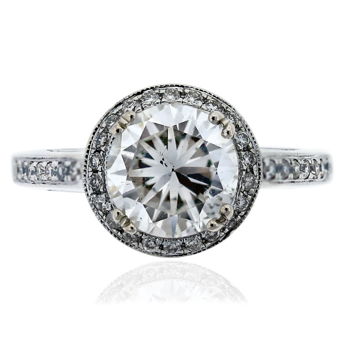 14k White Gold GIA Certified 1.83ct Diamond Halo Engagement Ring