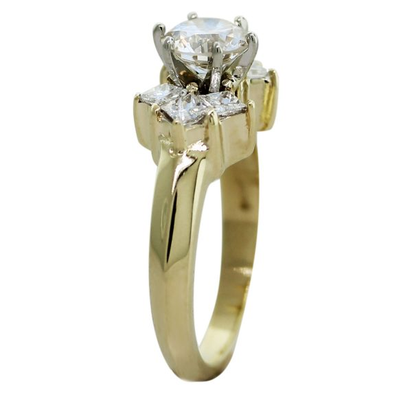14kt Yellow Gold GIA Certified Round & Princess Cut Diamond Engagement Ring Side
