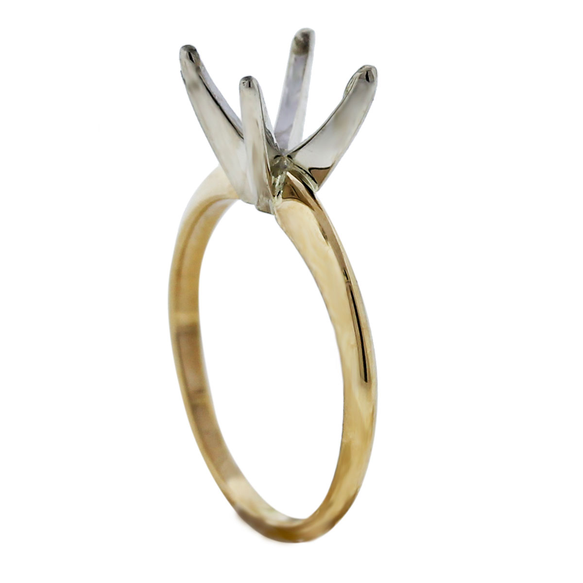 Two Tone 14k Gold 4 Prong Engagement Ring Mounting Angle