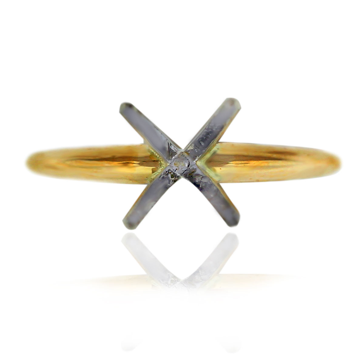 Two Tone 14k Gold 4 Prong Engagement Ring Mounting