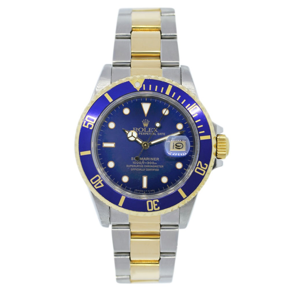 Rolex Mens Submariner Automatic Blue Dial Oyster 18k