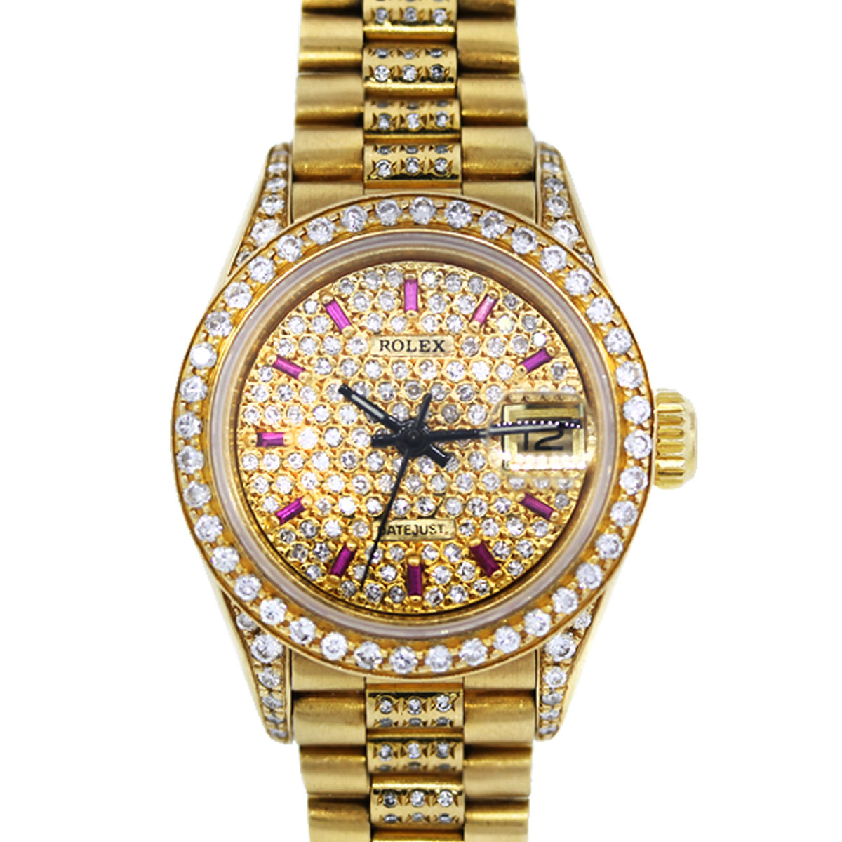 Rolex 69178 President All Diamond and Ruby Ladies Gold Watch