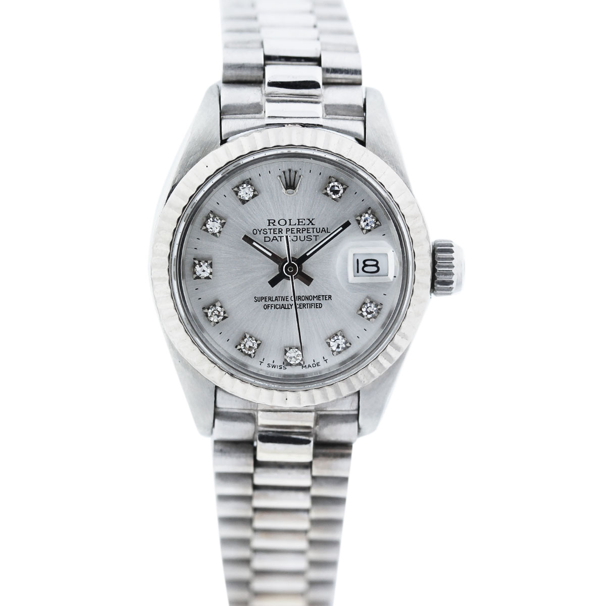Vintage rolex datejust 6917 stainless steel diamond dial watch for Diamond dial watch