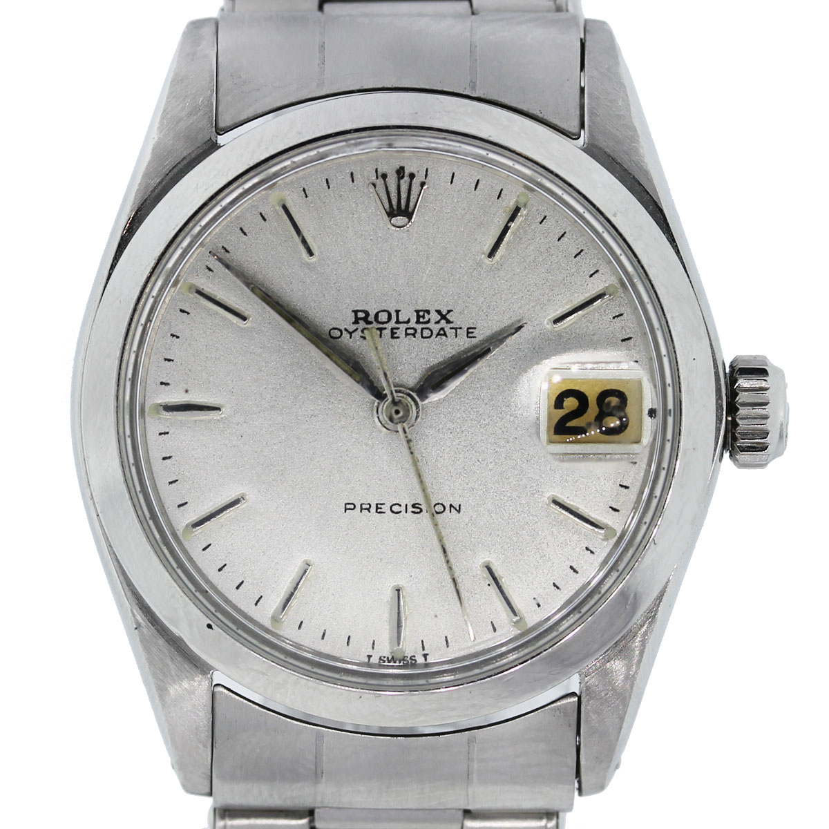 Vintage Rolex Precision 6694 Stainless Steel Silver Dial Ladies Watch