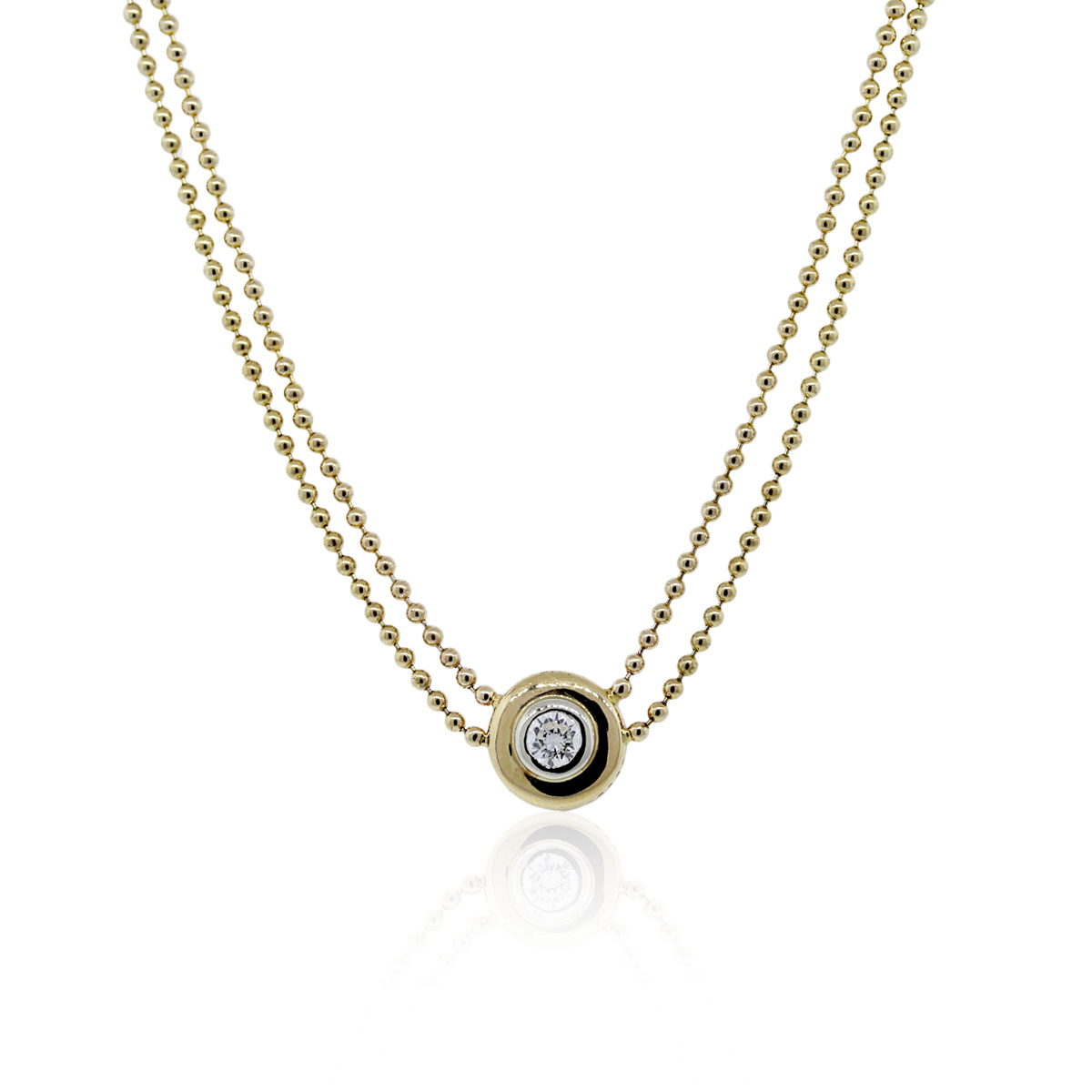 14k Yellow Gold Diamond Double Chain Necklace
