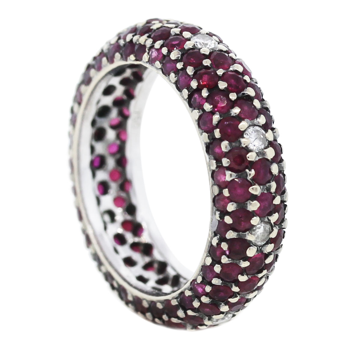18kt White Gold Ruby & Diamond Eternity Band Angle