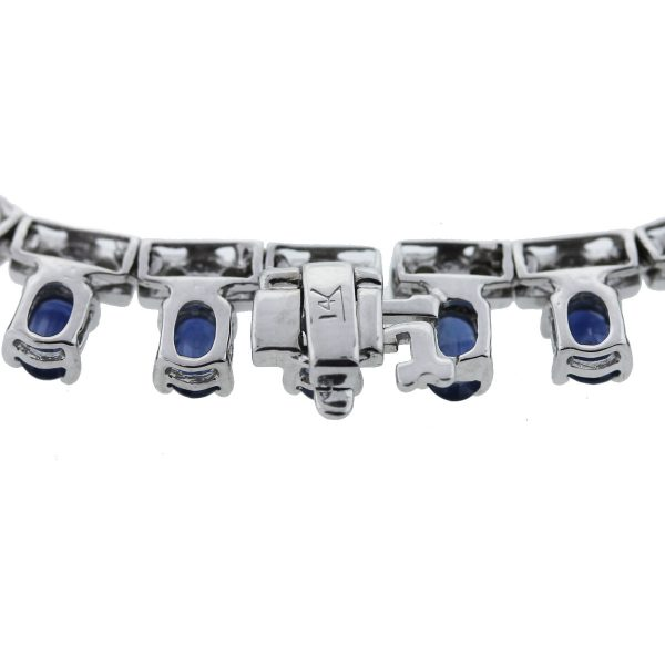 14k White Gold Sapphire & Diamond Necklace Clasp