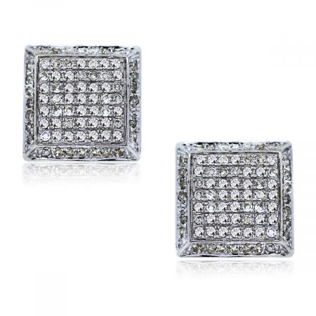 Estate Diamond Pave Set Stud Earrings