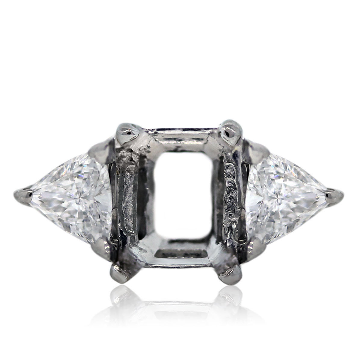 You are viewing this Platinum Mounting with Two Trillion Cut Accent Stones!