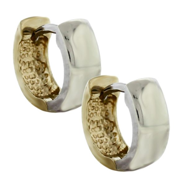 14kt Two Tone Small Gold Reversible Hoop Earrings back