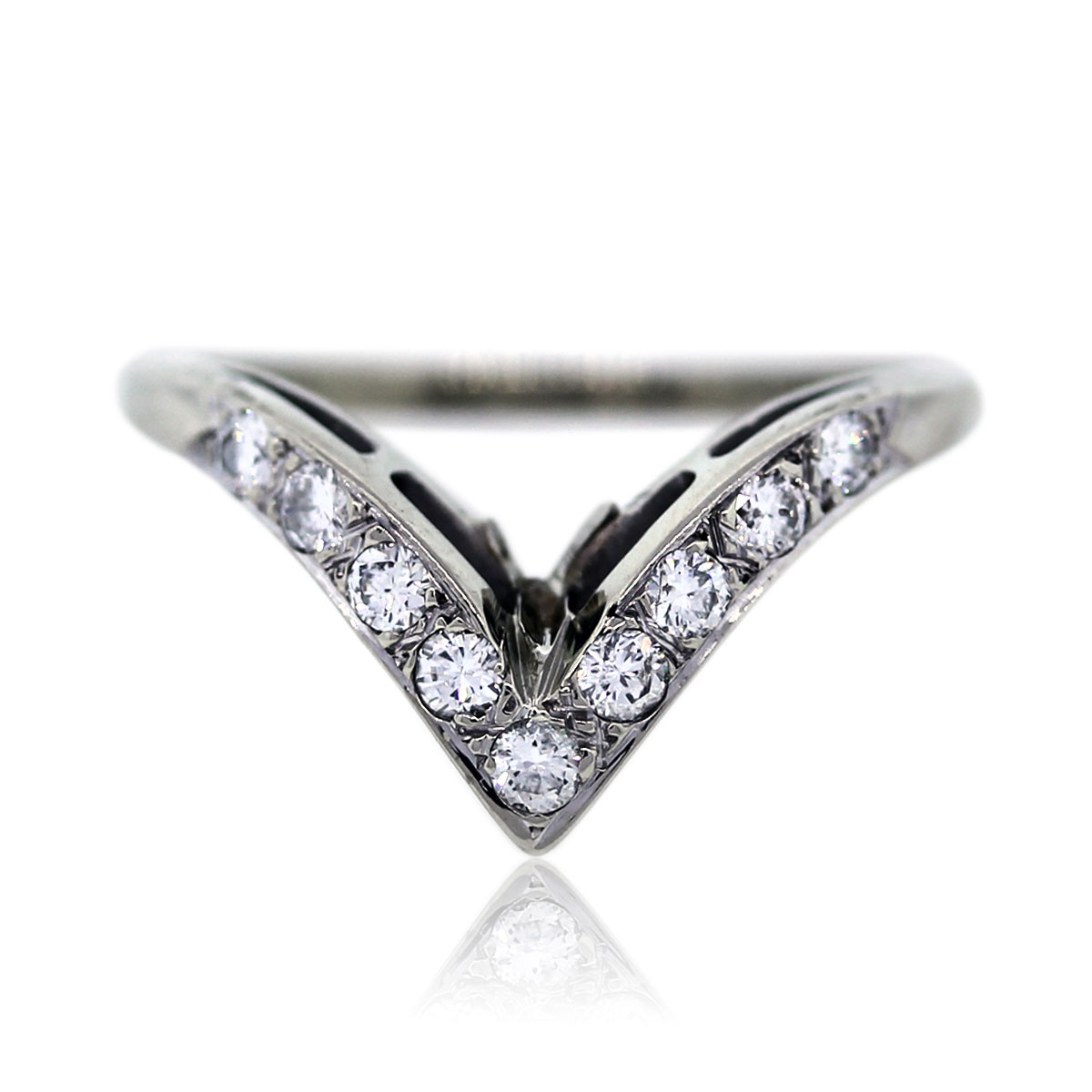 14k white gold and diamond v shaped wedding band ring boca