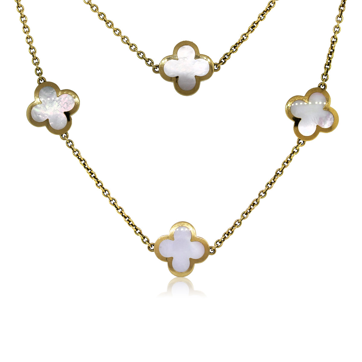 Van Cleef And Arpels Mother Of Pearl Necklace: Van Cleef & Arpels Mother Of Pearl 14 Motif Alhambra Necklace
