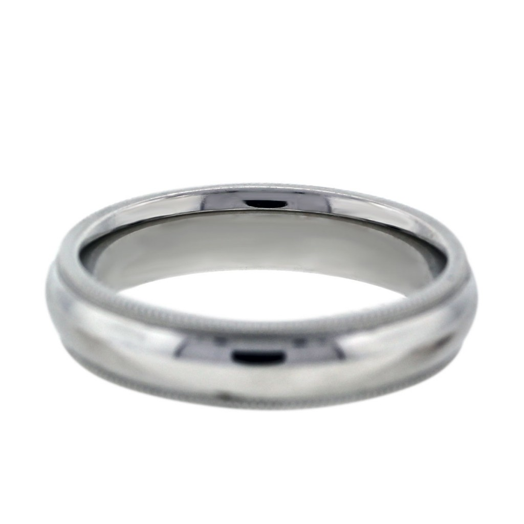 14k White Gold Milgrain Mens Wedding Band Ring Boca Raton