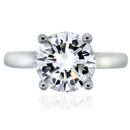 Platinum GIA Certified 2.62ct Round Brilliant Diamond Engagement Ring