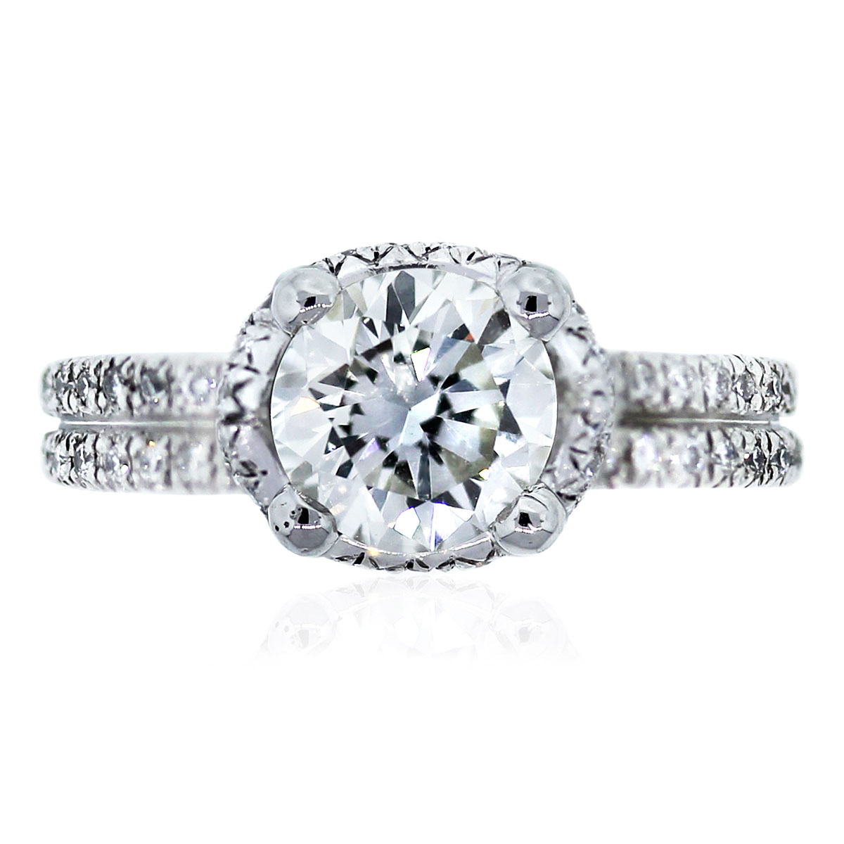 micropave halo round diamond engagement ring