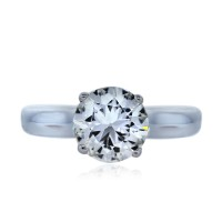14k White Gold 1.16 Carat Round Diamond Solitaire Engagement Ring