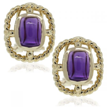 14kt Yellow Gold Cabochon Amethyst Stud Earrings