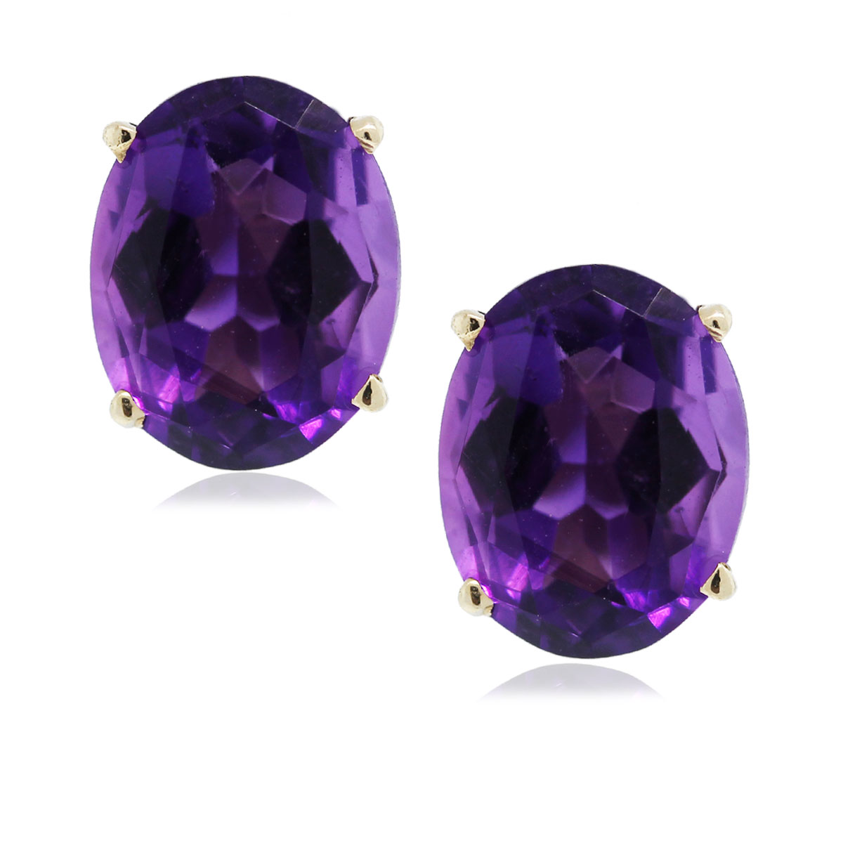 14k yellow gold oval cut amethyst stud earrings boca raton. Black Bedroom Furniture Sets. Home Design Ideas